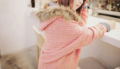 jacket,pink,faux fur jacket,knitwear