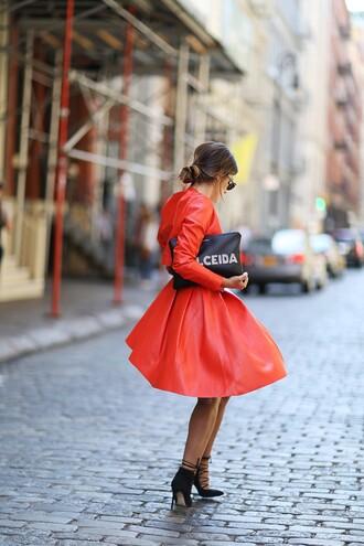 dulceida blogger bag sunglasses red dress