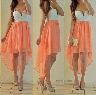 dress white dress coral dress high low dress cute dress