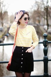 skirt,white and yellow striped shirt,sunglasses,red bag,blogger,button up black skirt