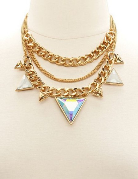 jewels chain necklace pyramid prism