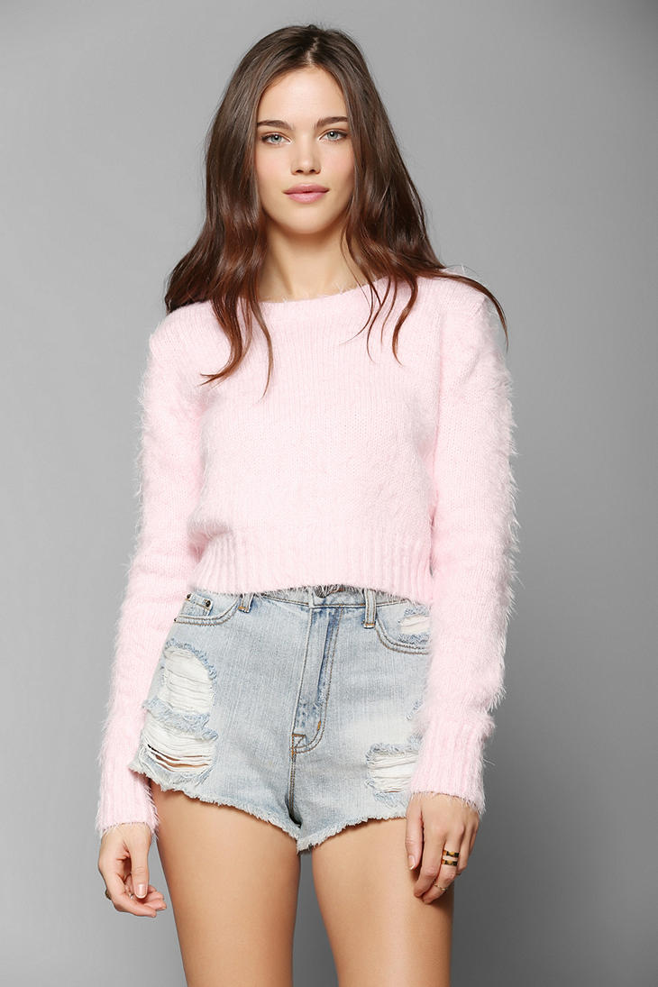 Glamorous Fuzzy Cropped Sweater - Urban Outfitters