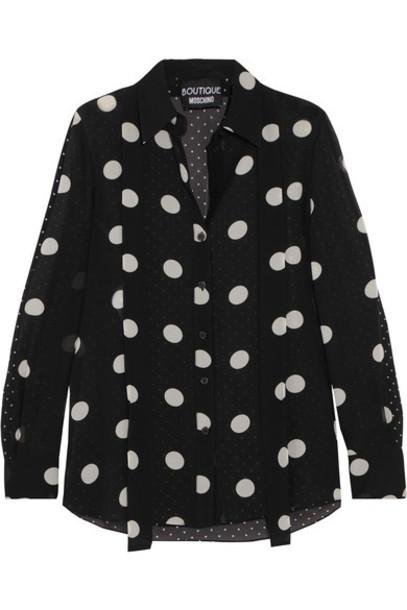 BOUTIQUE MOSCHINO shirt chiffon black silk top