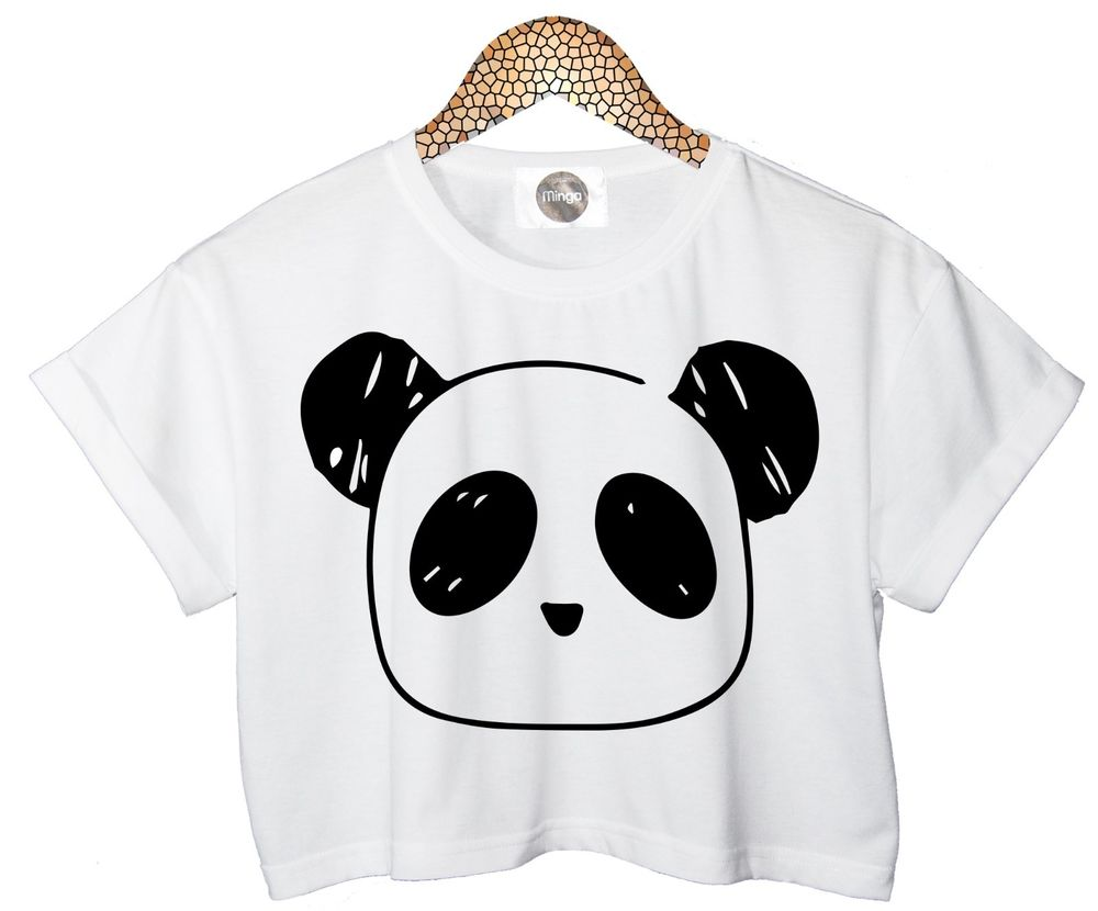Panda T Shirt Crop Top Womens Ladies Retro Vtg Tumblr Celebrities Funny Hipster | eBay