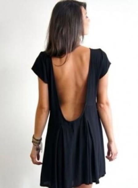 3ce132a8be7f7 dress little black dress cute long open back dress simple dress t-shirt  dress black