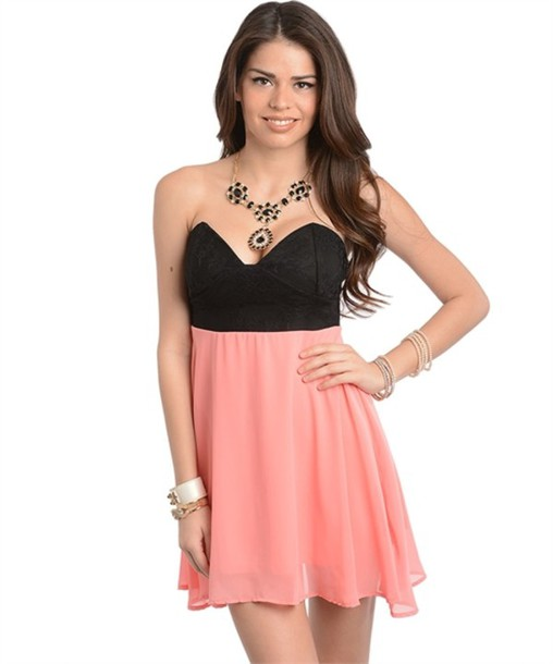 dress coral skater fit and flare black lace trendy chic 2014 chiffon strapless
