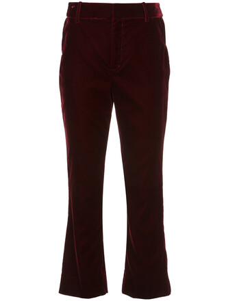 flare cropped women red pants