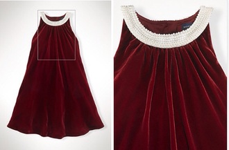 dress cute christmas pearls collar pearl red dress red fashion formal dress classy classic nice style white dress red dresss chique velvet