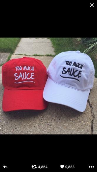 hat baseball cap red white matching set