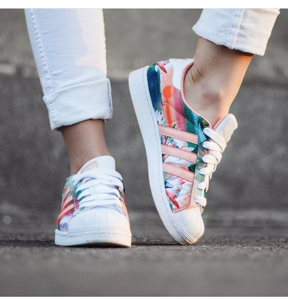 shoes, adidas, adidas originals, floral shoes, pastel
