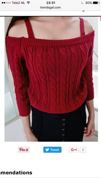 sweater red fashion style knitwear off the shoulder trendy warm fall outfits trendsgal.com