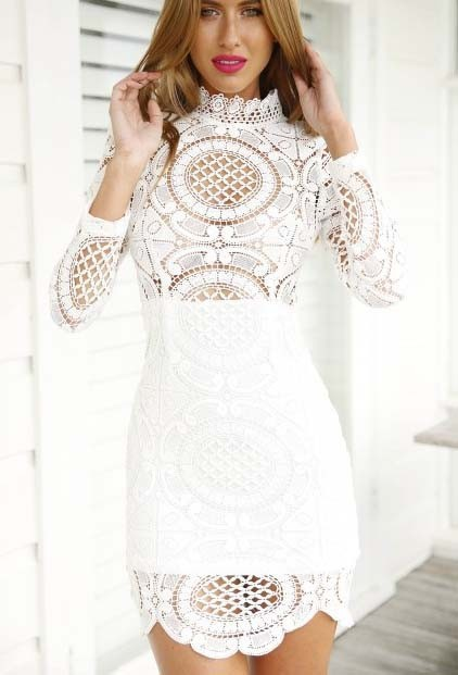 High quality boho sexy short crochet dress long sleeve white lace dress  autumn elegant ladies lace ... 07ad3d31ff