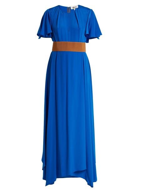 gown ruffle silk blue dress