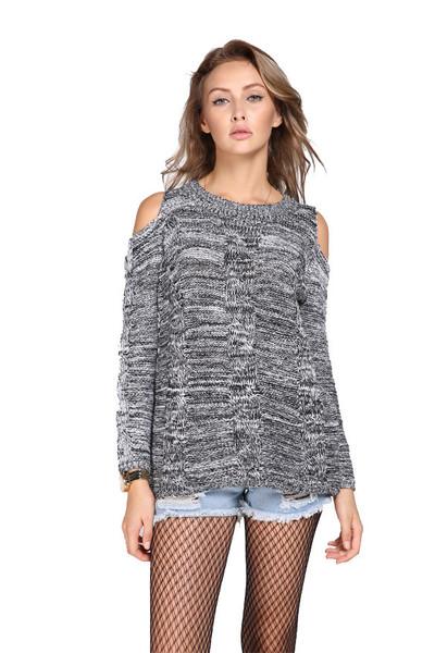 Om shoulder peep sweater