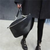 bag,girly,black,leather,leather bag,bum bag,chain,chain bag