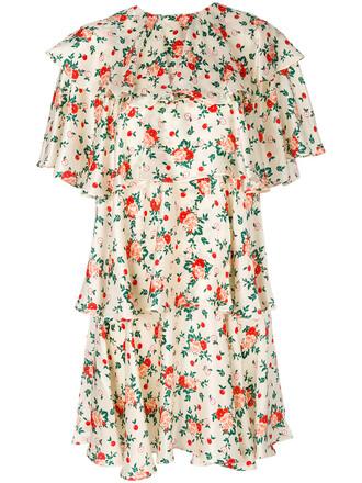 dress women layered floral nude silk