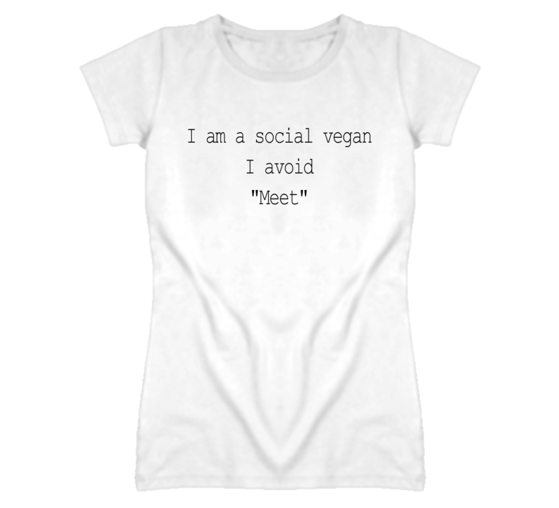 Social Vegan Avoid Meet Funny Food Graphic T Shirt
