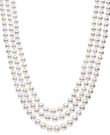 Belle de Mer Pearl Necklace, Sterling Silver Cultured Freshwater Pearl Three Strand Necklace (4-8mm) - Necklaces - Jewelry & Watches - Macy's