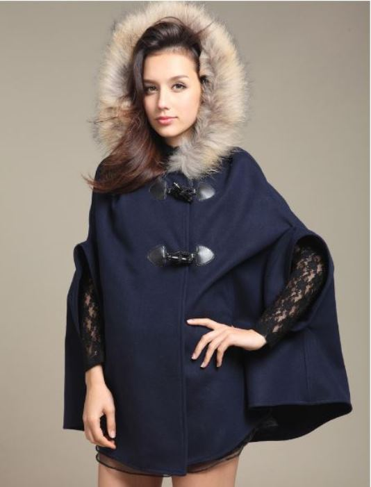Navy Hooded Wool Blend Poncho