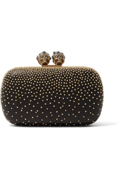 Alexander Mcqueen leather clutch embellished king clutch leather black bag
