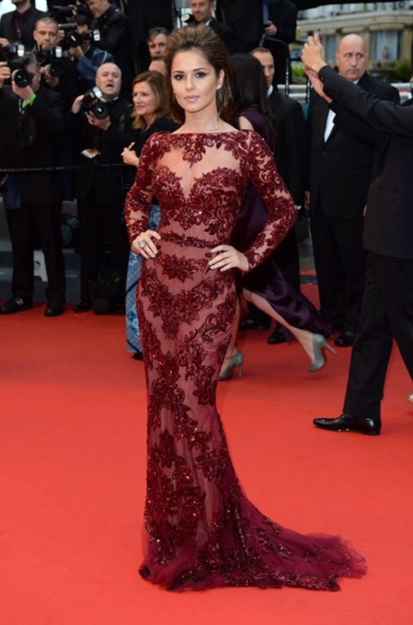 dress wine red floor length dress lace sheer long sleeve dress cheryl cole