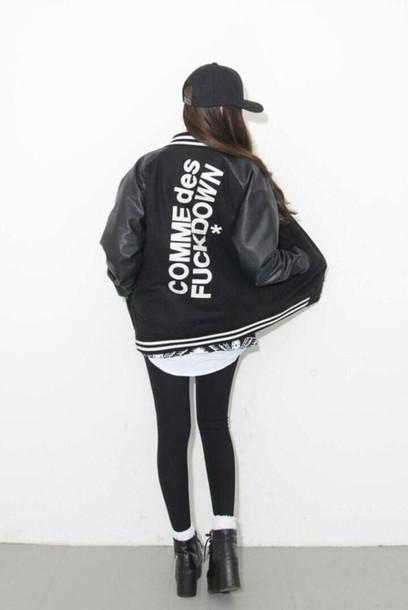 jacket black leather jacket comme des fuckdown sports jacket