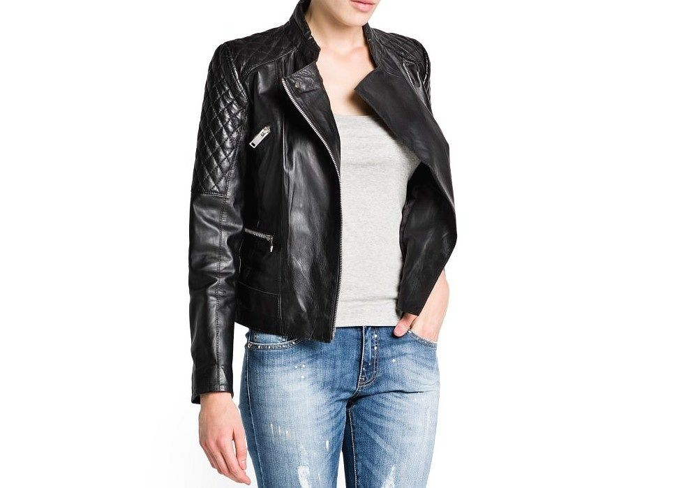 MANGO ZARA GROUP QUILTED PANELS LEATHER BIKER JACKET