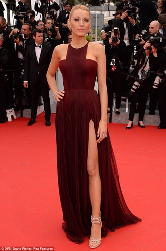 blake lively burgundy dress long dress dress