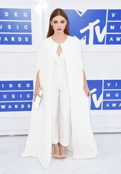 pants,cape,holland roden,white,all white everything,vma,mtv,jumpsuit,top,blouse,celebrity,white jumpsuit,coat,white coat,long coat,sandals,stuart weitzman,sandal heels,clutch