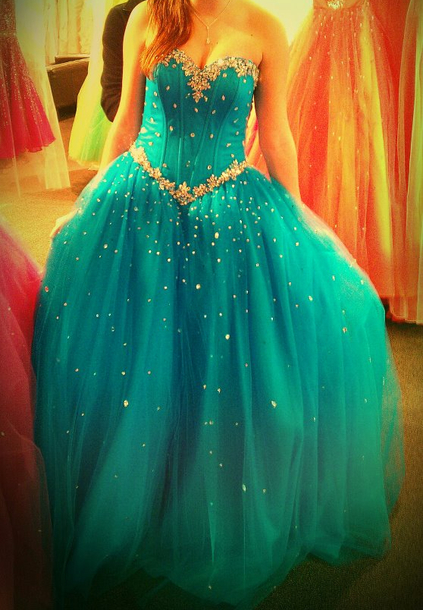 dress ball gown dress prom homecoming corset top tulle skirt blue blue dress prom dress tulle dress teal teal dress