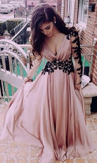 dress pink black lace prom long sleeves