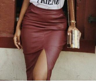 skirt leather skirt burgundy skirt split skirt