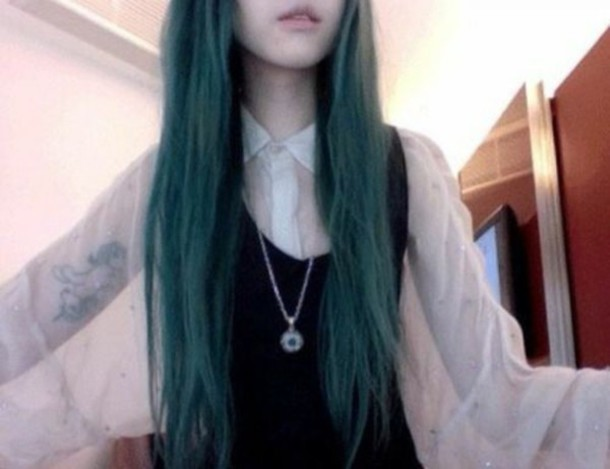 blouse panoche halloweentown grunge nu goth goth green hair dark black boho tattoo alternative