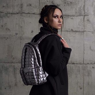 bag backpack quilted quilted bag quilted backpack silver silver backpack silver bag black black coat fusion