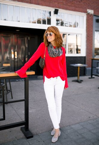 themiddlepage blogger blouse scarf jewels bag shoes sunglasses red sweater louis vuitton bag white jeans