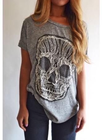 shirt skull t-shirt skull t-shirt grey t-shirt