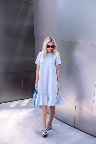 late afternoon blogger dress shoes bag sunglasses blue dress sandals handbag summer outfits blue bag tumblr midi dress embellished