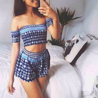 jumpsuit romper crop top tank top sleeveless blue shorts detail detailing floral tumblr teenagers cute summer spring boho bohemian aztec ethnic