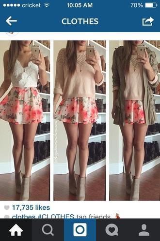 skirt pink blouse floral skirt