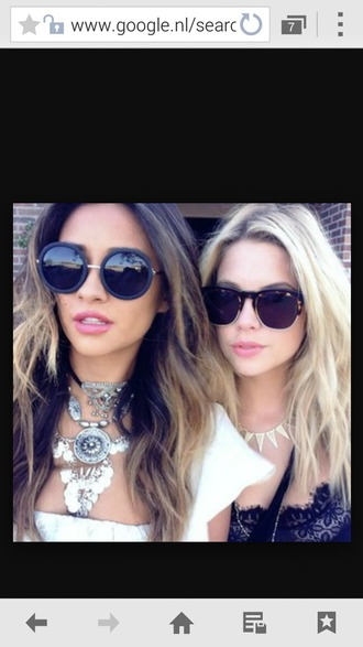 sunglasses shay mitchell ashley benson jewels pretty little liars celebrity style celebrity celebstyle for less jewelry necklace statement necklace