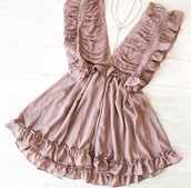 dress,mauve,ruffle,deep v,flutter sleeve,ruffle dress