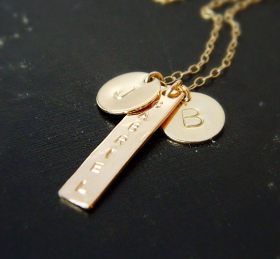 Personalized Gold Bar Necklace Initial Necklace by camilaestrella
