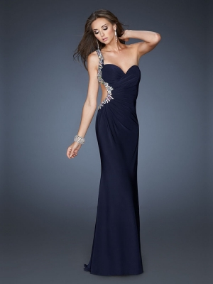 Sheath/Column One Shoulder Elastic Woven Satin Floor-length Sleeveless Beading Evening Dresses at Dresseshop