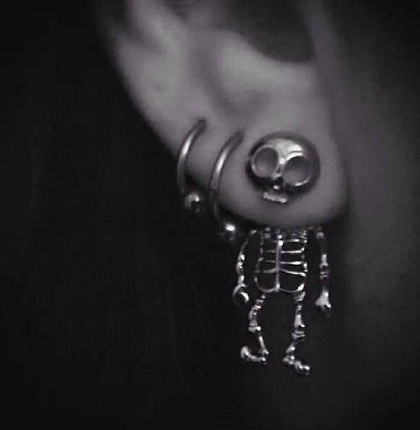 jewels skull earrings skelton earrings skeleton skull skull earrings grunge grunge soft grunge