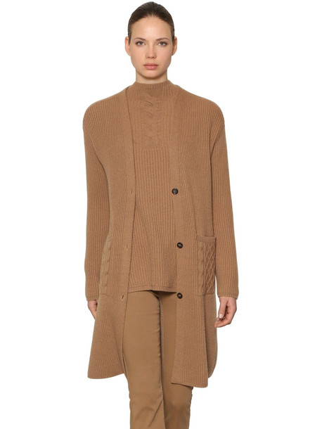 MAX MARA 'S Wool & Cashmere Rib Knit Long Cardigan in camel
