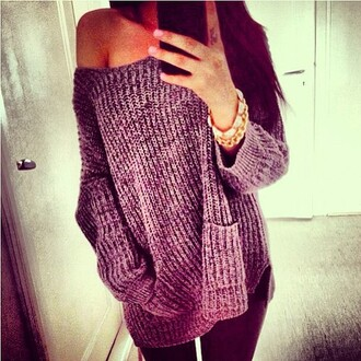 sweater grey oversized sweater knitted sweater warm fall outfits sweather weather
