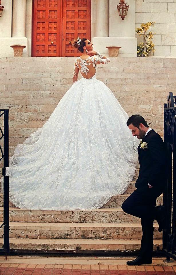Aliexpress.com : Buy Gorgeous Princess Sheer Lace Long Sleeve Ball ...