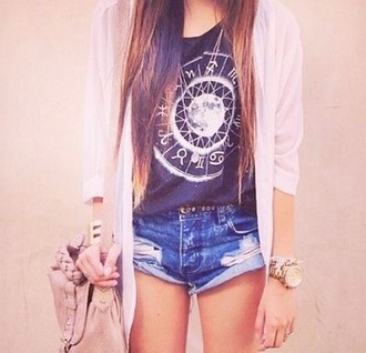 bag over the shoulder purse over the shoulder purse shirt shorts jewels moon astrology sweater blouse t-shirt tank top black cool tee tshirt top singlet black white blue black t-shirt denim shorts cardigan top hipster moon shirt ripped jean shorts white cardigan horoscope