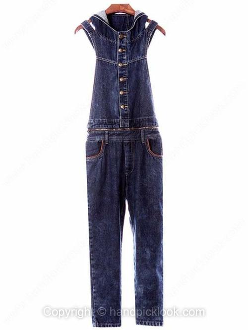Blue Hooded Sleeveless Backless Denim Jumpsuit - HandpickLook.com