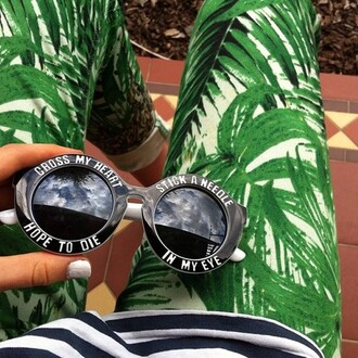 sunglasses white pants black palm tree print bag cross my heart hope to die round sunglasses b&w tropical printed leggings green jewels vogue retro vintage jeans